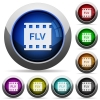 FLV movie format icons in round glossy buttons with steel frames