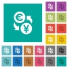 Euro Yen money exchange square flat multi colored icons - Euro Yen money exchange multi colored flat icons on plain square backgrounds. Included white and darker icon variations for hover or active effects.
