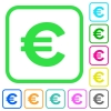 Euro sign vivid colored flat icons - Euro sign vivid colored flat icons in curved borders on white background