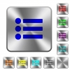 Bullet list rounded square steel buttons - Bullet list engraved icons on rounded square glossy steel buttons