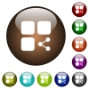 Share component color glass buttons - Share component white icons on round color glass buttons