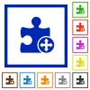 Move plugin flat color icons in square frames on white background - Move plugin flat framed icons