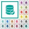 Database ok flat color icons with quadrant frames - Database ok flat color icons with quadrant frames on white background