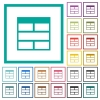 Spreadsheet horizontally merge table cells flat color icons with quadrant frames - Spreadsheet horizontally merge table cells flat color icons with quadrant frames on white background