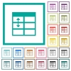 Spreadsheet adjust table row height flat color icons with quadrant frames - Spreadsheet adjust table row height flat color icons with quadrant frames on white background
