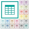 Spreadsheet table flat color icons with quadrant frames - Spreadsheet table flat color icons with quadrant frames on white background