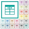Spreadsheet adjust table column width flat color icons with quadrant frames - Spreadsheet adjust table column width flat color icons with quadrant frames on white background