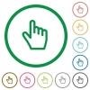 Hand cursor flat icons with outlines - Hand cursor flat color icons in round outlines on white background