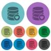 Favorite database color darker flat icons - Favorite database darker flat icons on color round background