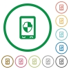 Mobile protection flat icons with outlines - Mobile protection flat color icons in round outlines on white background