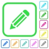 Single pencil vivid colored flat icons - Single pencil vivid colored flat icons in curved borders on white background