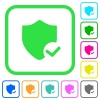Protection ok vivid colored flat icons - Protection ok vivid colored flat icons in curved borders on white background