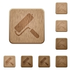 Paint roller wooden buttons - Paint roller on rounded square carved wooden button styles