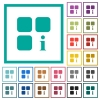 Component information flat color icons with quadrant frames - Component information flat color icons with quadrant frames on white background