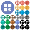 Protected component round flat multi colored icons - Protected component multi colored flat icons on round backgrounds. Included white, light and dark icon variations for hover and active status effects, and bonus shades on black backgounds.