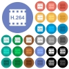 H.264 movie format round flat multi colored icons - H.264 movie format multi colored flat icons on round backgrounds. Included white, light and dark icon variations for hover and active status effects, and bonus shades on black backgounds.