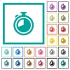 Timer flat color icons with quadrant frames - Timer flat color icons with quadrant frames on white background