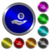 Bitcoin earnings luminous coin-like round color buttons - Bitcoin earnings icons on round luminous coin-like color steel buttons