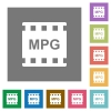 MPG movie format square flat icons - MPG movie format flat icons on simple color square backgrounds