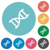 DNA molecule flat round icons - DNA molecule flat white icons on round color backgrounds