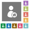 User home square flat icons - User home flat icons on simple color square backgrounds