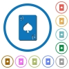 Nine of spades card icons with shadows and outlines - Nine of spades card flat color vector icons with shadows in round outlines on white background