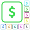 Dollar sign vivid colored flat icons - Dollar sign vivid colored flat icons in curved borders on white background
