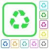 Recycling vivid colored flat icons - Recycling vivid colored flat icons in curved borders on white background