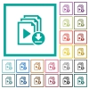 Download playlist flat color icons with quadrant frames - Download playlist flat color icons with quadrant frames on white background