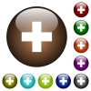Add new item color glass buttons - Add new item white icons on round color glass buttons