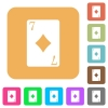 Seven of diamonds card rounded square flat icons - Seven of diamonds card flat icons on rounded square vivid color backgrounds.