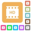 HD movie format rounded square flat icons - HD movie format flat icons on rounded square vivid color backgrounds.