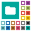 Single folder square flat multi colored icons - Single folder multi colored flat icons on plain square backgrounds. Included white and darker icon variations for hover or active effects.