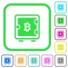 Bitcoin strong box vivid colored flat icons - Bitcoin strong box vivid colored flat icons in curved borders on white background