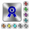 Award with ribbons rounded square steel buttons - Award with ribbons engraved icons on rounded square glossy steel buttons