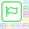 Flag flat vivid colored flat icons - Flag flat vivid colored flat icons in curved borders on white background