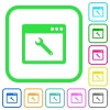 Application maintenance vivid colored flat icons - Application maintenance vivid colored flat icons in curved borders on white background