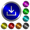 Download symbol luminous coin-like round color buttons - Download symbol icons on round luminous coin-like color steel buttons