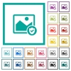 Protected image flat color icons with quadrant frames - Protected image flat color icons with quadrant frames on white background