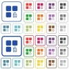 Unlock component color flat icons in rounded square frames. Thin and thick versions included. - Unlock component outlined flat color icons