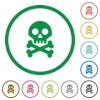 Skull with bones flat icons with outlines - Skull with bones flat color icons in round outlines on white background
