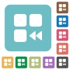 Component fast backward rounded square flat icons - Component fast backward white flat icons on color rounded square backgrounds