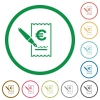 Signing Euro cheque flat icons with outlines - Signing Euro cheque flat color icons in round outlines on white background