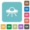 UFO rounded square flat icons - UFO white flat icons on color rounded square backgrounds