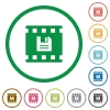 Save movie flat icons with outlines - Save movie flat color icons in round outlines on white background