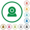 Webcam flat icons with outlines - Webcam flat color icons in round outlines on white background