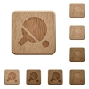 Table tennis wooden buttons - Table tennis on rounded square carved wooden button styles