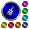 Paste with brush luminous coin-like round color buttons - Paste with brush icons on round luminous coin-like color steel buttons