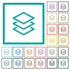 Layers flat color icons with quadrant frames - Layers flat color icons with quadrant frames on white background