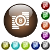 Bitcoins color glass buttons - Bitcoins white icons on round color glass buttons